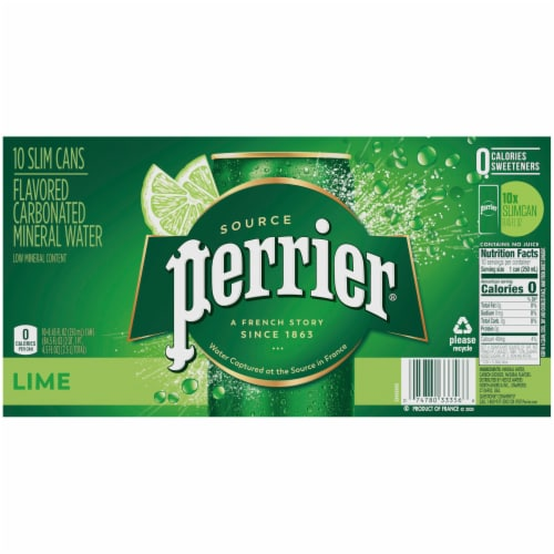 Perrier Lime Flavored Carbonated Mineral Water 10 Count Perspective: back