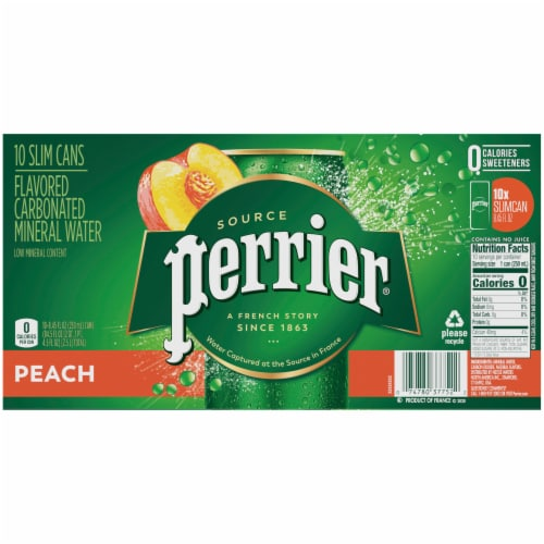 Perrier Peach Flavored Sparkling Mineral Water Perspective: back