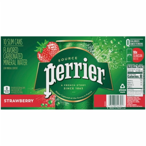 Perrier Strawberry Flavored Carbonated Mineral Water Perspective: back