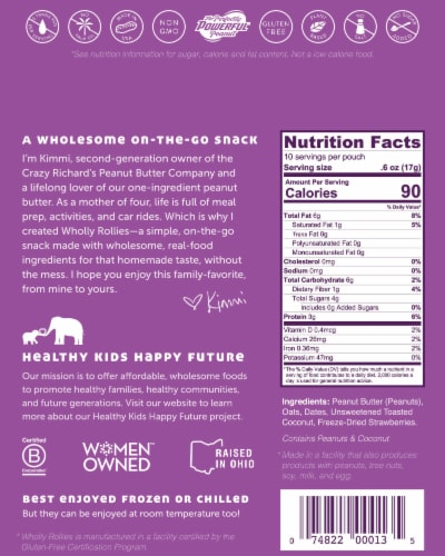 Crazy Richard's PB & Strawberry Wholly Rollies Protein Balls 10 Count Perspective: back