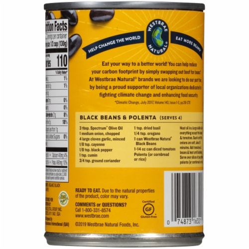 Westbrae Natural® Organic Black Beans Perspective: back