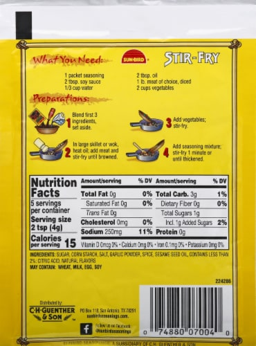 Sun-Bird® Stir-Fry Oriental Seasoning Mix Perspective: back