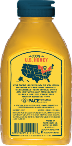 Local Hive US Great Lakes Raw & Unfiltered Honey Perspective: back