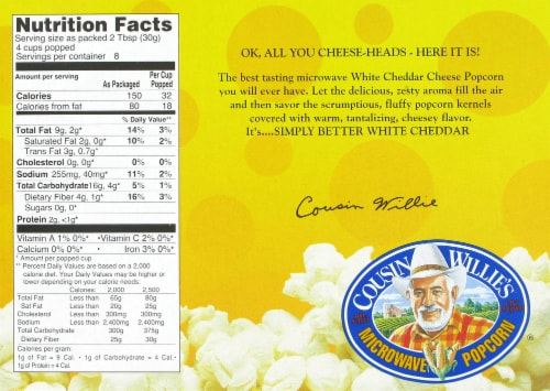Cousin Willie's White Cheddar Popcorn 3 Count Perspective: back