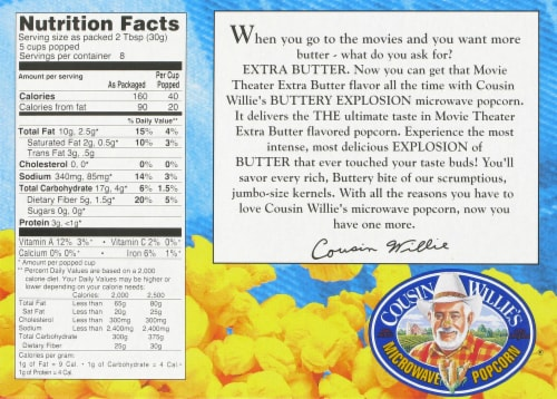 Cousin Willie's Buttery Explosion Movie Theater Extra Butter Popcorn 3 Count Perspective: back