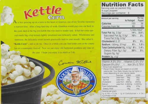 Cousin Willie's Kettle Corn Microwave Popcorn 3 Count Perspective: back