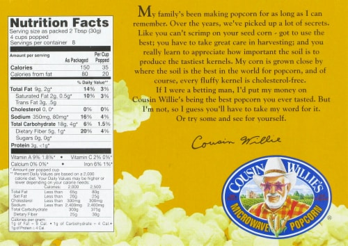 Cousin Willie's Movie Theater Butter Microwave Popcorn Perspective: back