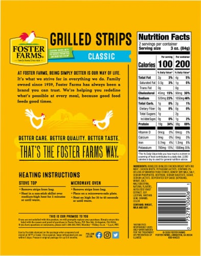 Foster Farms Grilled Chicken Breast Strips Perspective: back