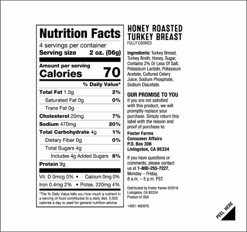 Foster Farms Honey Roasted Turkey Breast Perspective: back