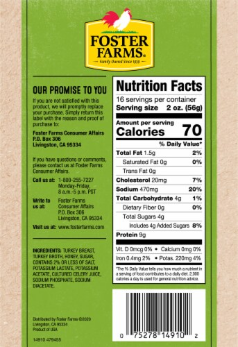 Foster Farms Honey Roasted Turkey Perspective: back