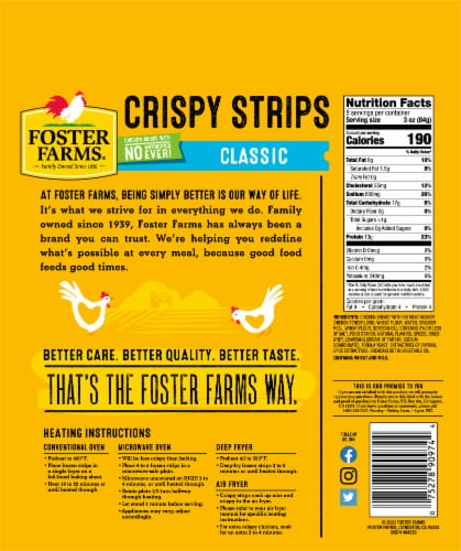 Foster Farms Crispy Chicken Strips Perspective: back