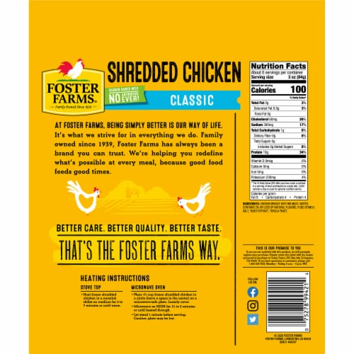 Foster Farms® Shredded Chicken Breast Perspective: back