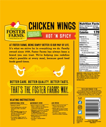 Foster Farms All Natural Hot 'N Spicy Chicken Wings Perspective: back