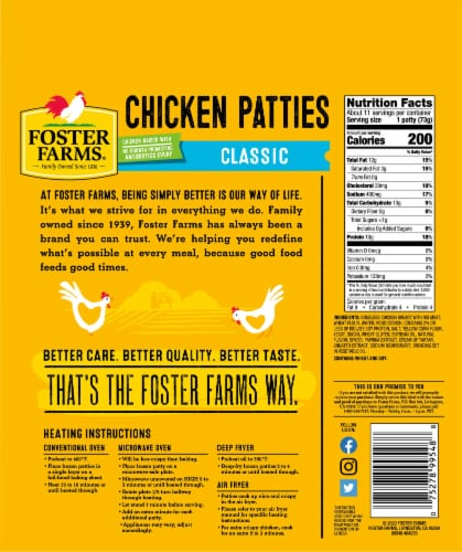 Foster Farms Classic Breaded Chicken Patties Perspective: back