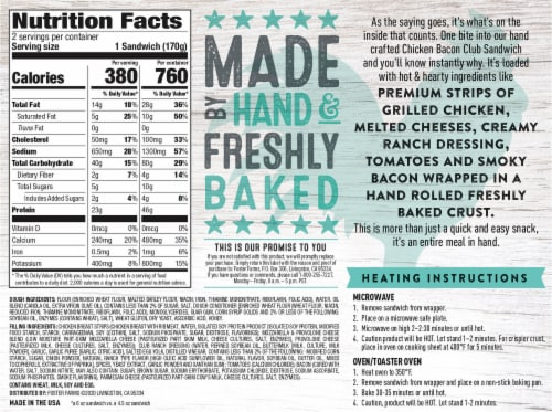 Foster Farms® Chicken Bacon Club Hand-Rolled Sandwiches Perspective: back