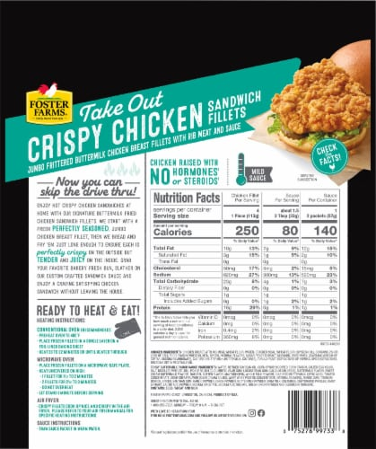 Foster Farms® Tangy Buttermilk Ranch Crispy Chicken Sandwich Fillets Perspective: back