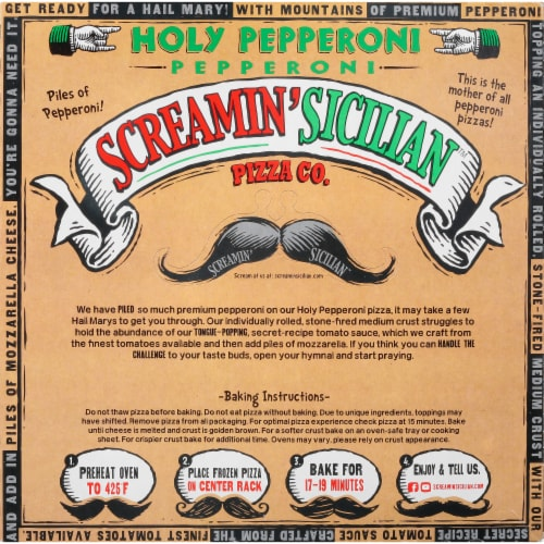 Screamin' Sicilian Holy Pepperoni Pizza Perspective: back