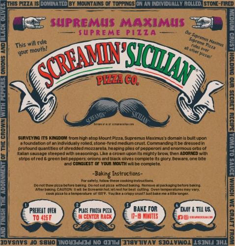 Screamin' Sicilian Supremus Maximus Supreme Pizza Perspective: back