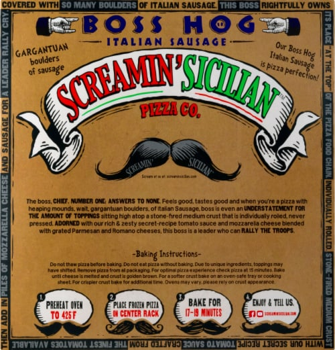 Screamin' Sicilian Boss Hog Italian Sausage Pizza Perspective: back