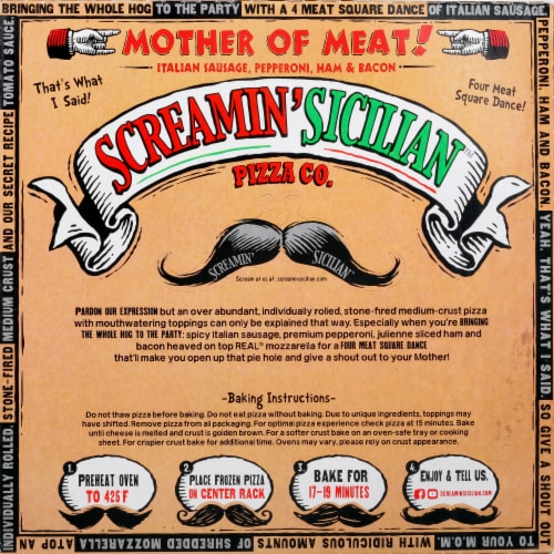 Screamin' Sicilian Mother of Meats Pizza Perspective: back
