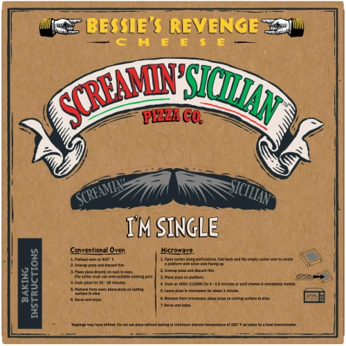 Screamin' Sicilian Bessie's Revenge Cheese Pizza Perspective: back