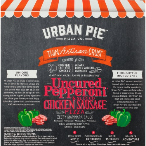 Urban Pie™ Pizza Co. Thin Artisan Crust Pepperoni & Chicken Sausage Frozen Pizza Perspective: back