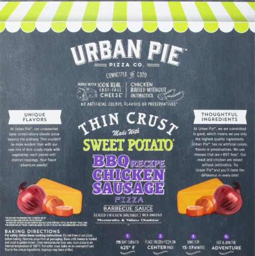 Urban Pie Pizza Co. BBQ Recipe Chicken Sausage Pizza Perspective: back