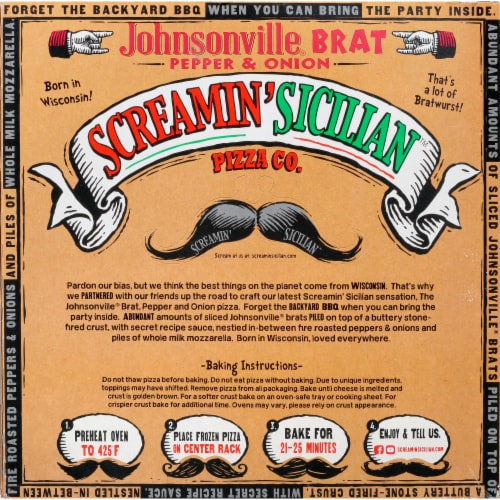 Screamin' Sicilian Johnsonville Brat Pepper & Onion Frozen Pizza Perspective: back