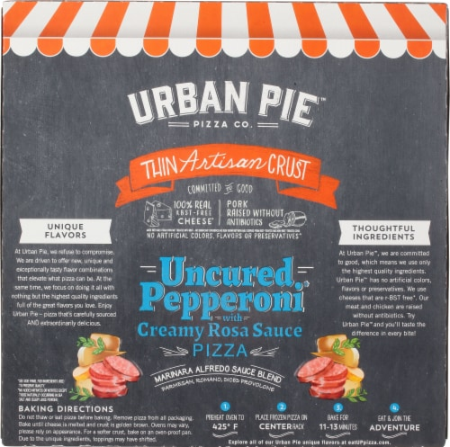 Urban Pie™ Pizza Co. Pepperoni Thin Artisan Crust Frozen Pizza Perspective: back