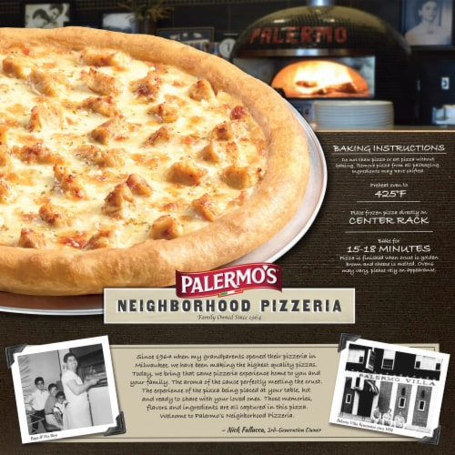 Palermo's Neighborhood Pizzeria Chicken Alfredo Frozen Pizza Perspective: back