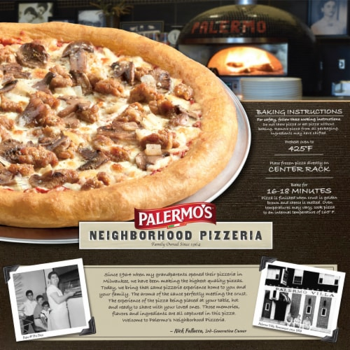 Palermo's Neighborhood Pizzeria Sausage Mushroom Onion Frozen Pizza Perspective: back