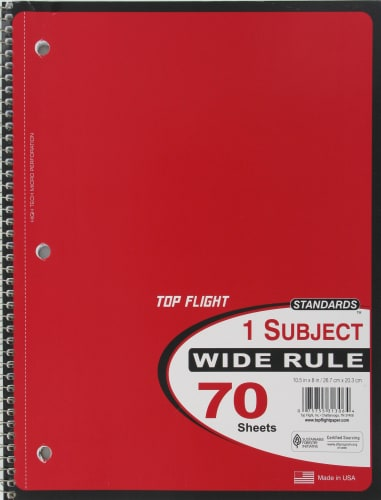 Top Flight Wide Ruled 1-Subject Notebook - 70 Sheets - Assorted Perspective: back
