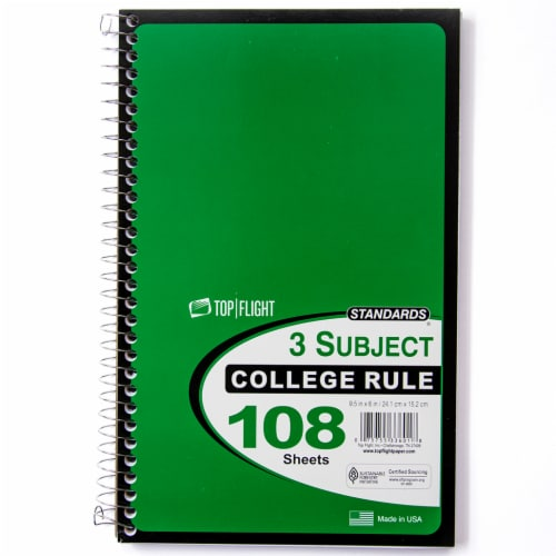 Top Flight College Rule 3-Subject Notebook - 108 Sheets - Assorted Perspective: back