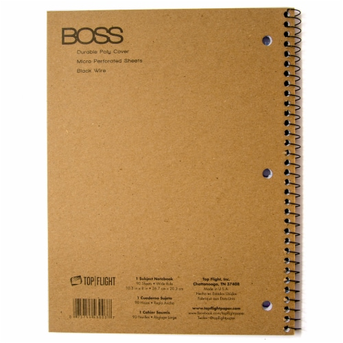 Top Flight Boss Wide Ruled 1-Subject Notebook - 90 Sheets - Assorted Perspective: back