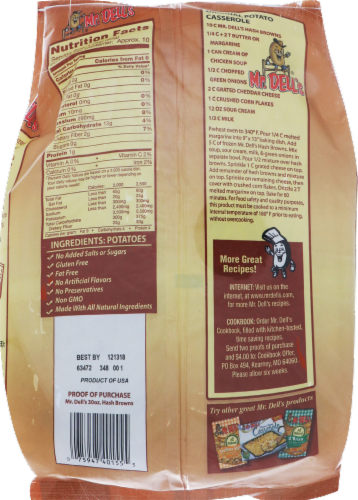 Mr. Dell's All Natural Frozen Shredded Hash Browns Perspective: back