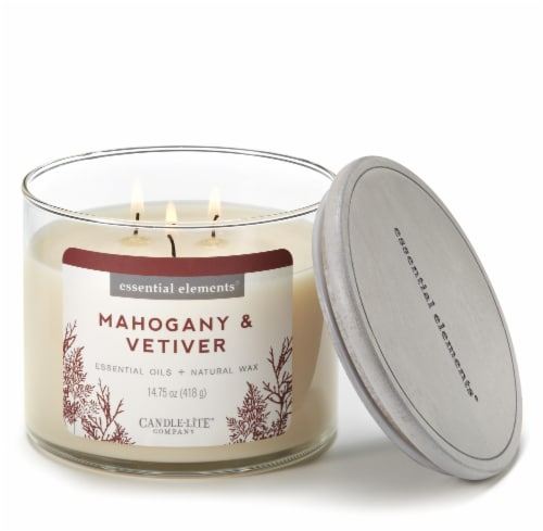 Candle-lite Essential Elements Mahogany & Vetiver Jar Candle - Ivory Perspective: back