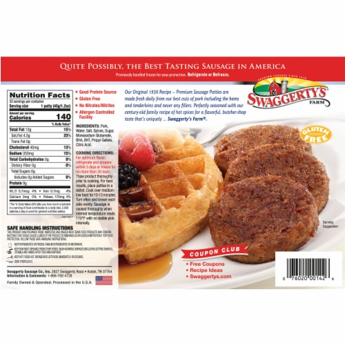 Swaggerty's Farm Hot Country Sausage Patties Perspective: back