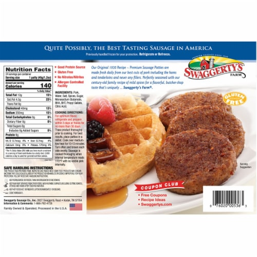 Swaggerty's Farm Premium Sausage Patties 24 Count Perspective: back