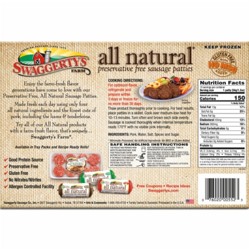 Swaggerty's Farm All Natural Mild Sausage Patties Perspective: back