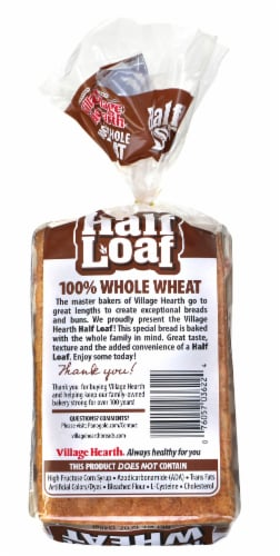 Village Hearth 100% Whole Wheat Half Loaf Perspective: back