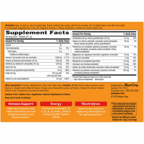 Emergen-C Super Orange Vitamin C Immune Supplement Fizzy Drink Mix Packets 1000mg Perspective: back