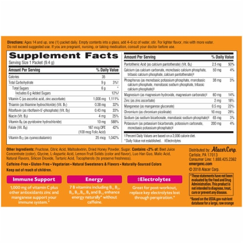 Emergen-C Pink Lemonade Dietary Supplement Fizzy Drink Packets Perspective: back
