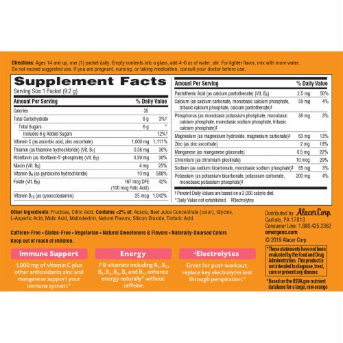 Emergen-C Tropical Dietary Supplement Fizzy Drink Packets Perspective: back