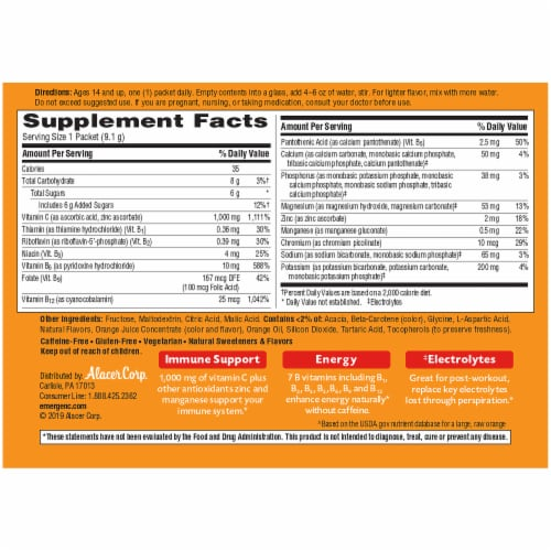 Emergen-C Super Orange Flavored Fizzy Vitamin C Drink Mix Packets 1000 mg Perspective: back