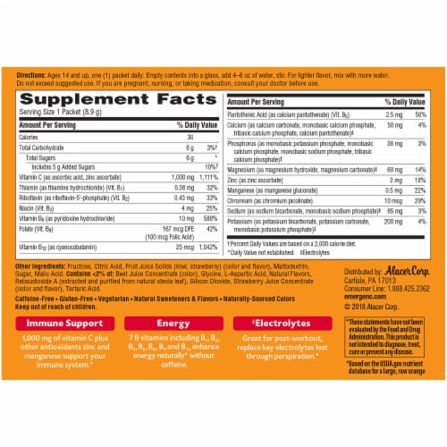 Emergen-C Strawberry-Kiwi Dietary Supplement Fizzy Drink Packets Perspective: back