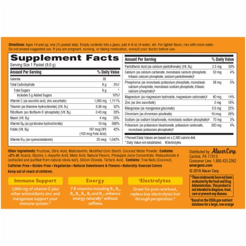 Emergen-C Coconut-Pineapple Dietary Supplement Fizzy Drink Mix Packets Perspective: back