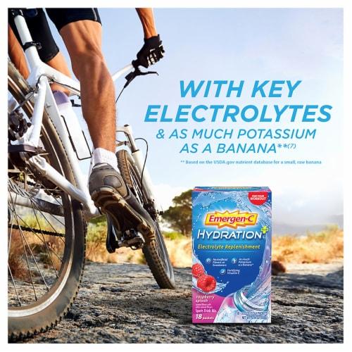 Emergen-C Hydration+ Electrolyte Replenishment Raspberry Splash Sports Drink Mix Packets Perspective: back