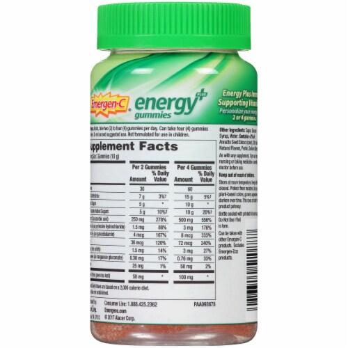 Emergen-C Energy Plus Orange Zest Natural Caffeine Dietary Supplement Gummies Perspective: back