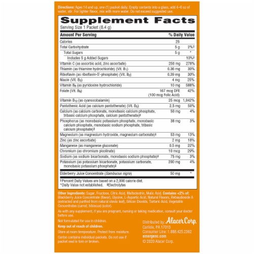 Emergen-C® Elderberry Daily Immune Support Fizzy Drink Mix Packets 250mg Perspective: back