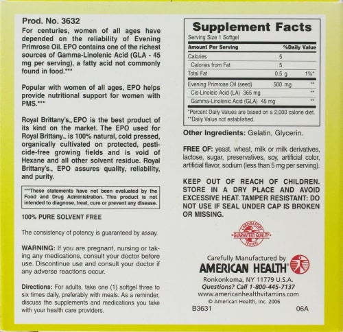 American Health Royal Brittany Evening Primrose Oil Softgels 500 mg Perspective: back